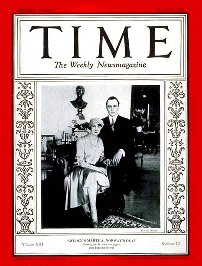 TIME Magazine Cover: Crown Prince Olaf and Princess Märtha -- Mar. 25, 1929