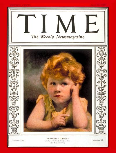 TIME Magazine Cover: Princess Elizabeth -- Apr. 29, 1929