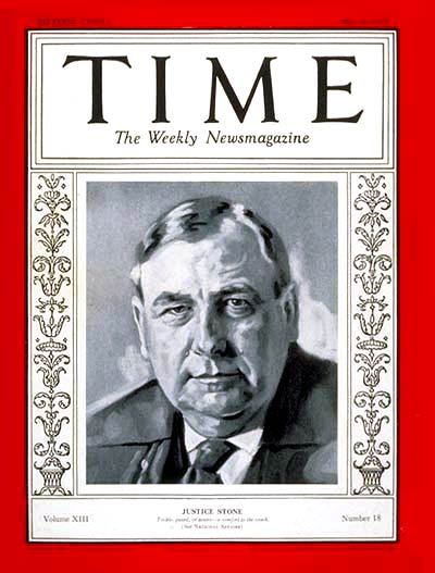 TIME Magazine Cover: Harlan F. Stone -- May 6, 1929