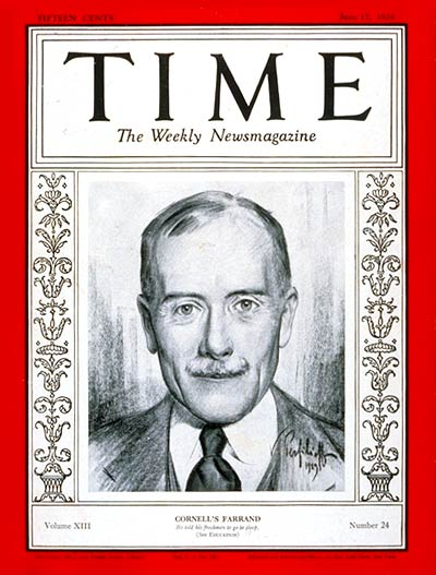 TIME Magazine Cover: Livingston Farrand -- June 17, 1929