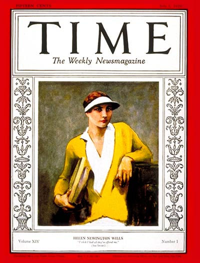 TIME Magazine Cover: Helen Wills -- July 1, 1929