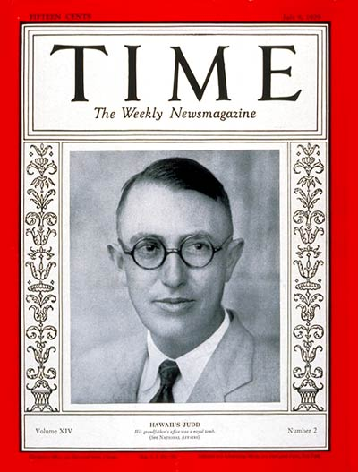 TIME Magazine Cover: Governor Lawrence Judd -- July 8, 1929