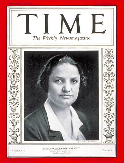TIME Magazine Cover: Mabel Willebrandt -- Aug. 26, 1929