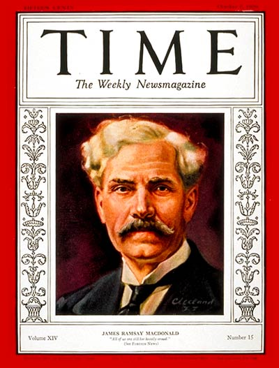 TIME Magazine Cover: Ramsay MacDonald -- Oct. 7, 1929