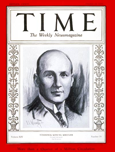 TIME Magazine Cover: Ivar Kreuger -- Oct. 28, 1929