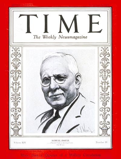 TIME Magazine Cover: Samuel Insull -- Nov. 4, 1929
