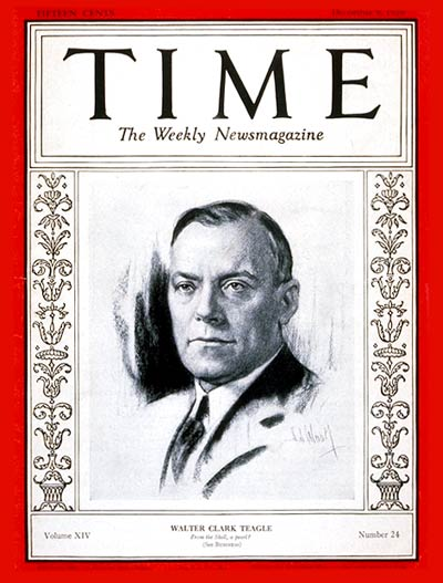 TIME Magazine Cover: Walter C. Teagle -- Dec. 9, 1929