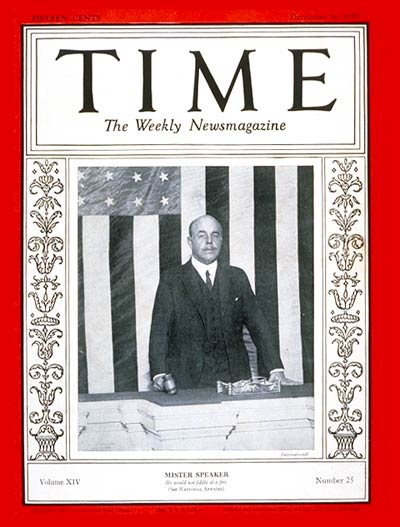 TIME Magazine Cover: Nicholas Longworth -- Dec. 16, 1929