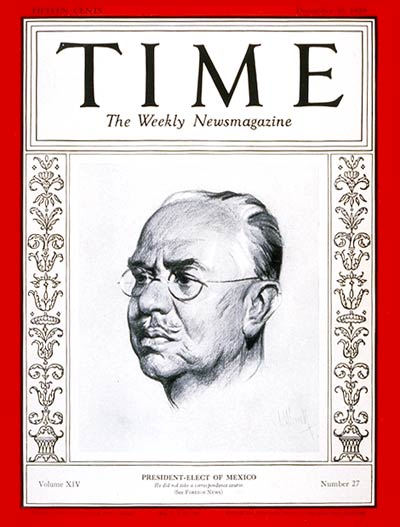 TIME Magazine Cover: Pascual Ortiz Rubio -- Dec. 30, 1929
