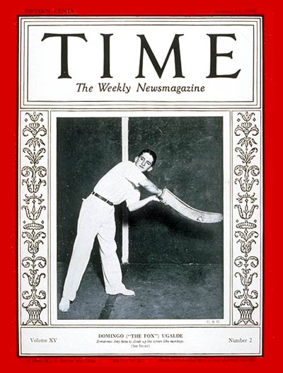 TIME Magazine Cover: Domingo Ugalde -- Jan. 13, 1930