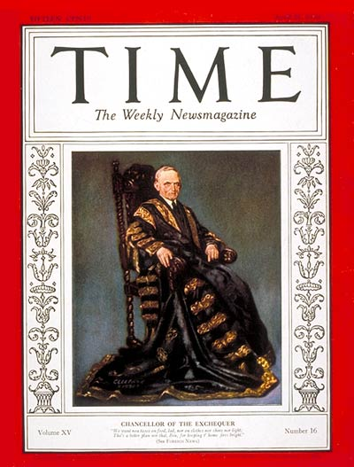 TIME Magazine Cover: Philip Snowden -- Apr. 21, 1930