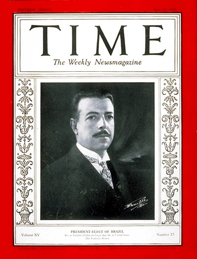 TIME Magazine Cover: Julio Prestes -- June 23, 1930