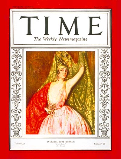 TIME Magazine Cover: Lucrezia Bori -- June 30, 1930