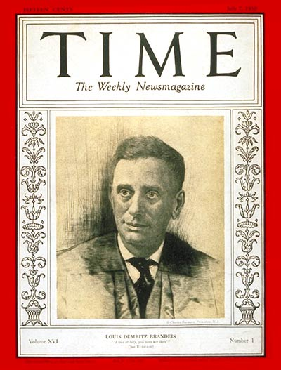 TIME Magazine Cover: Louis D. Brandeis -- July 7, 1930