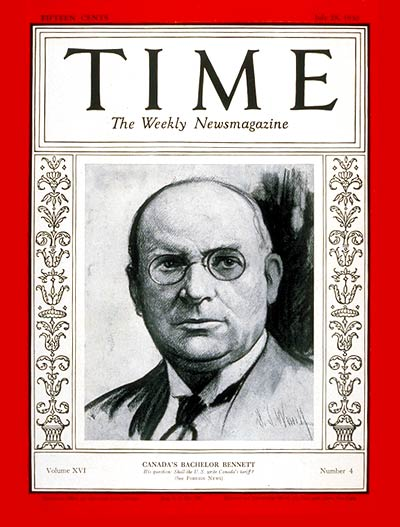 TIME Magazine Cover: Richard B. Bennett -- July 28, 1930