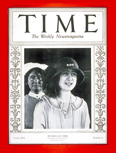 TIME Magazine Cover: Duchess of York -- Aug. 11, 1930
