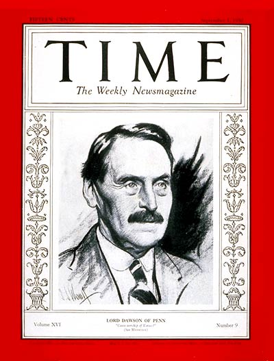 TIME Magazine Cover: Lord Dawson -- Sep. 1, 1930