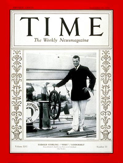 TIME Magazine Cover: Harold S. Vanderbilt -- Sep. 15, 1930