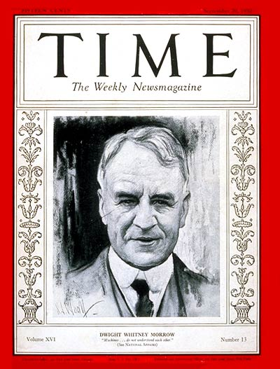 TIME Magazine Cover: Dwight W. Morrow -- Sep. 29, 1930
