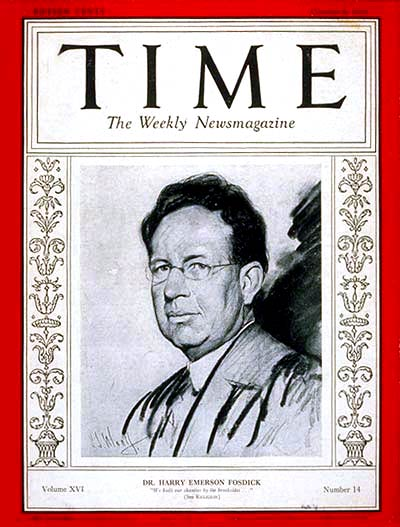 TIME Magazine Cover: Harry Emerson Fosdick -- Oct. 6, 1930