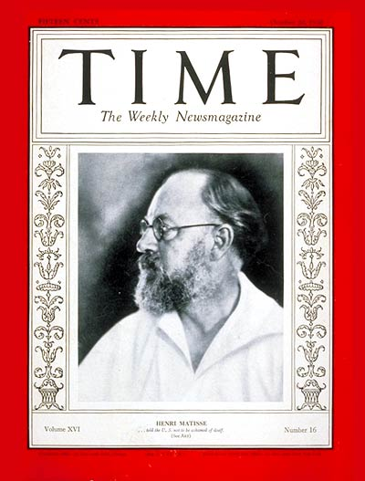 TIME Magazine Cover: Henri Matisse -- Oct. 20, 1930