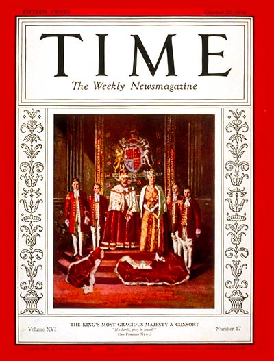 TIME Magazine Cover: King George V & Queen Mary -- Oct. 27, 1930