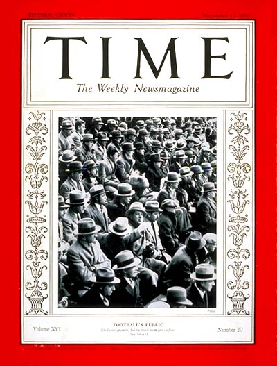 TIME Magazine Cover: Football's Public -- Nov. 17, 1930
