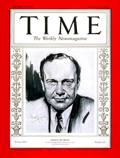 TIME Magazine Cover: Senator Robert Bulkley -- Nov. 24, 1930
