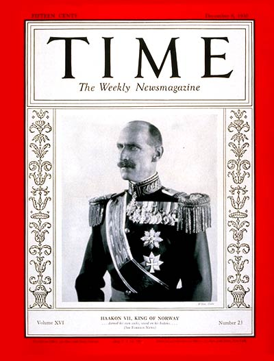 TIME Magazine Cover: King Haakon VII -- Dec. 8, 1930