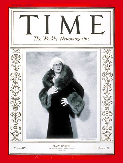 TIME Magazine Cover: Mary Garden -- Dec. 15, 1930