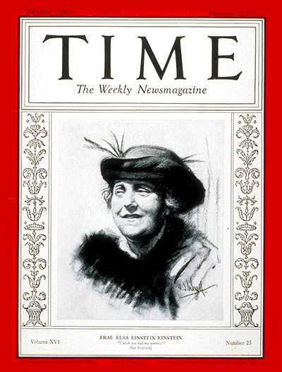 TIME Magazine Cover: Mrs. Albert Einstein -- Dec. 22, 1930