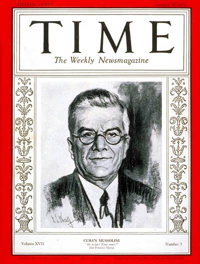 TIME Magazine Cover: Gerardo Machado -- Jan. 19, 1931