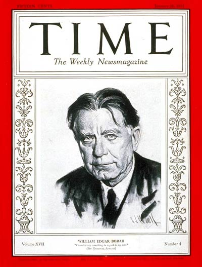 TIME Magazine Cover: Senator William Borah -- Jan. 26, 1931