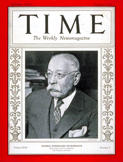 TIME Magazine Cover: George Wickersham -- Feb. 2, 1931