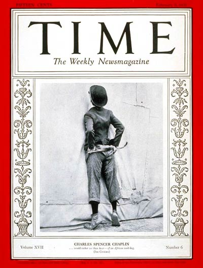 TIME Magazine Cover: Charlie Chaplin -- Feb. 9, 1931