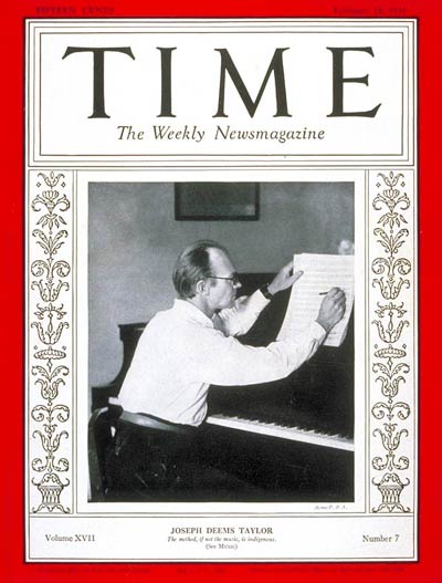 TIME Magazine Cover: Joseph Deems Taylor -- Feb. 16, 1931