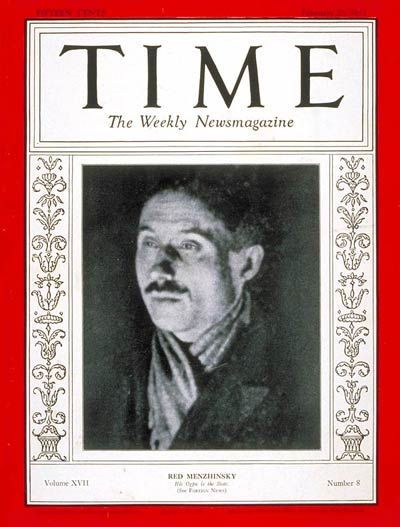 TIME Magazine Cover: Viacheslav Menzhinsky -- Feb. 23, 1931