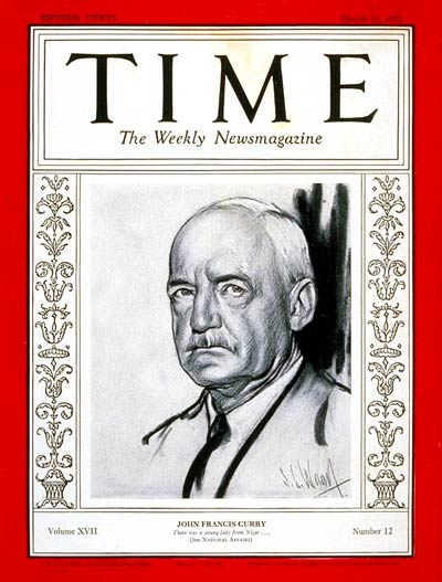 TIME Magazine Cover: John F. Curry -- Mar. 23, 1931