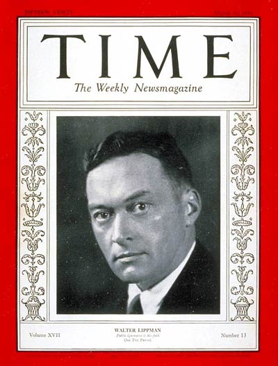 Walter Lippmann (misspelled Lippman on cover). Chief editorial writer, the World