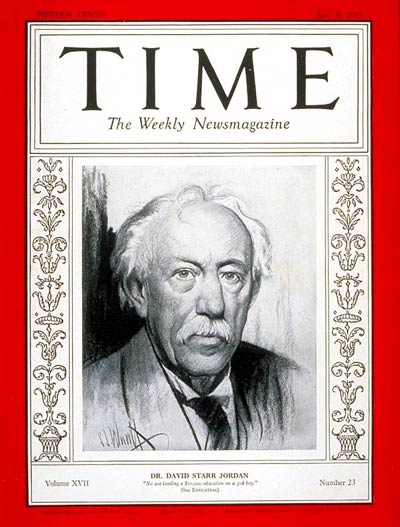 TIME Magazine Cover: Dr. David S. Jordan -- June 8, 1931