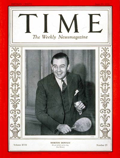 TIME Magazine Cover: Morton Downey -- June 22, 1931