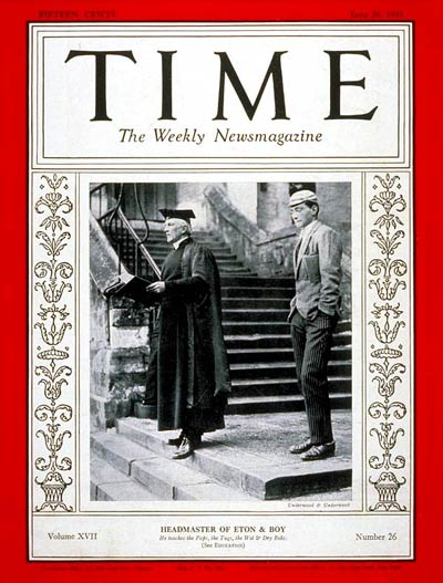 TIME Magazine Cover: Reverend Cyril Alington -- June 29, 1931