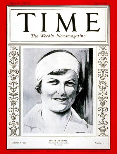 TIME Magazine Cover: Betty Nuthall -- July 6, 1931