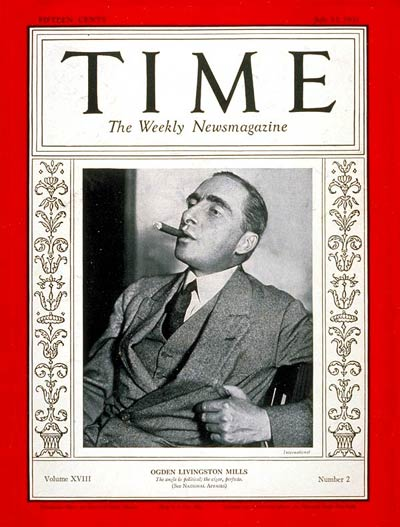 TIME Magazine Cover: Ogden L. Mills -- July 13, 1931
