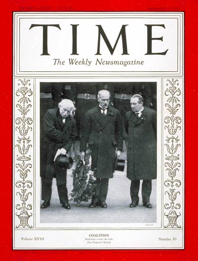TIME Magazine Cover: MacDonald, Baldwin & George -- Sep. 7, 1931
