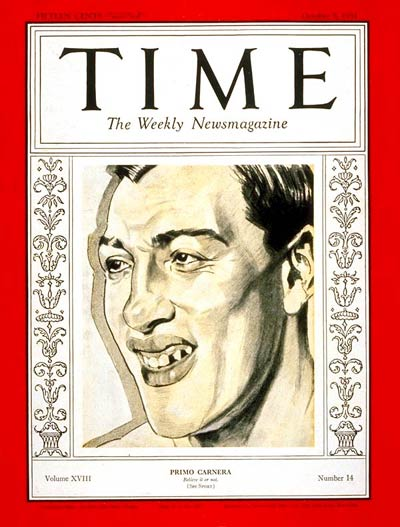TIME Magazine Cover: Primo Carnera -- Oct. 5, 1931