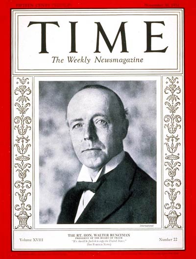 TIME Magazine Cover: Walter Runciman -- Nov. 30, 1931