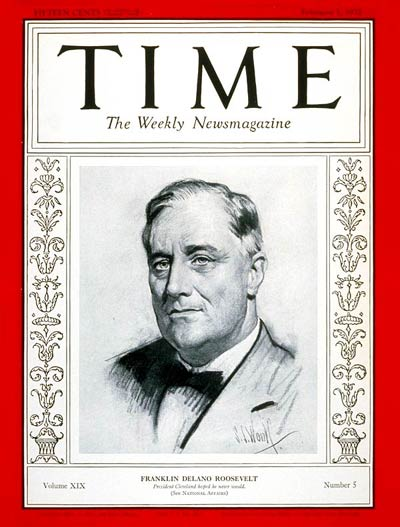 TIME Magazine Cover: Franklin D. Roosevelt -- Feb. 1, 1932