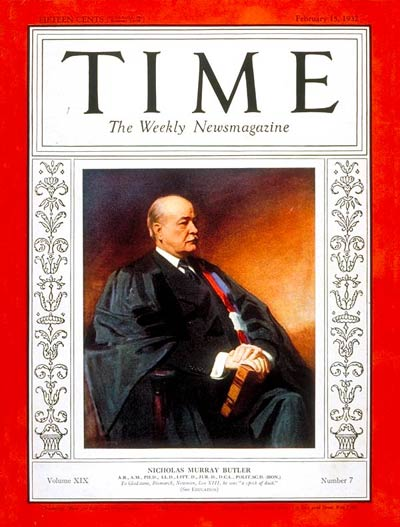 TIME Magazine Cover: Nicholas M. Butler -- Feb. 15, 1932