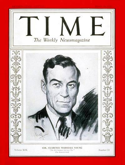 TIME Magazine Cover: Colonel Clarence Young -- Mar. 14, 1932